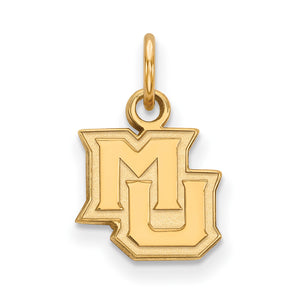 NCAA 14k Gold Plated Silver Marquette U XS Pendant - The Black Bow Jewelry Co.