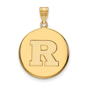 NCAA 14k Gold Plated Silver Rutgers Large Disc Pendant - The Black Bow Jewelry Co.