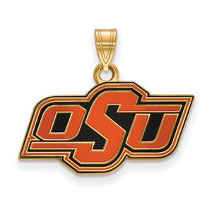NCAA 14k Gold Plated Silver Oklahoma State Small Enamel Pendant - The Black Bow Jewelry Co.