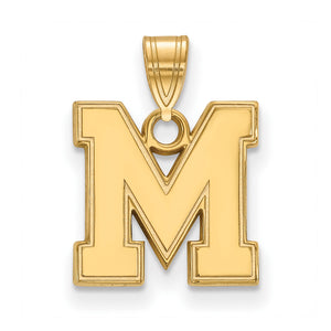NCAA 14k Gold Plated Silver U. of Memphis Small Pendant - The Black Bow Jewelry Co.