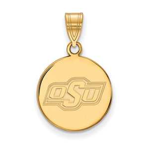 NCAA 14k Gold Plated Silver Oklahoma State Medium Disc Pendant - The Black Bow Jewelry Co.