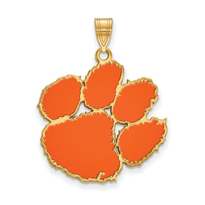 NCAA 14k Gold Plated Silver Clemson U XL Enamel Pendant - The Black Bow Jewelry Co.