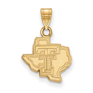 NCAA 14k Gold Plated Silver Texas Tech U. Small Pendant - The Black Bow Jewelry Co.