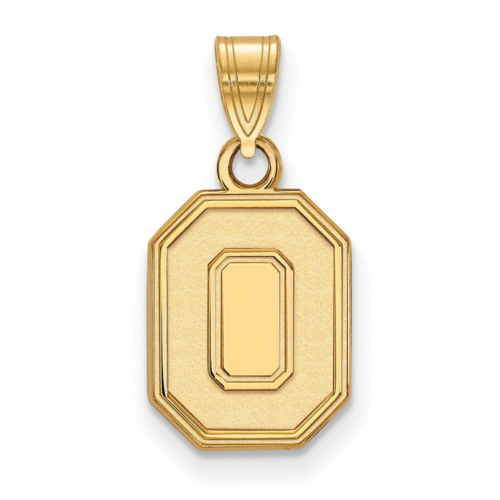 NCAA 14k Gold Plated Silver Ohio State Small Pendant, Item P25350 by The Black Bow Jewelry Co.