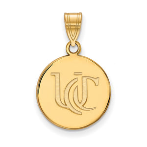 NCAA 14k Gold Plated Silver U. of Cincinnati Medium Pendant - The Black Bow Jewelry Co.