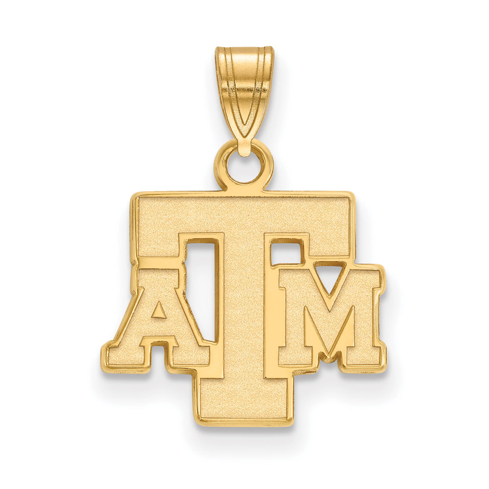 NCAA 14k Gold Plated Silver Texas A&M U. Small Pendant, Item P25410 by The Black Bow Jewelry Co.