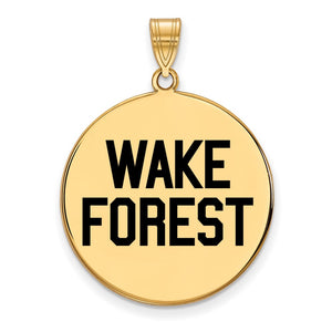 NCAA 14k Gold Plated Silver Wake Forest U. XL Enamel Disc Pendant - The Black Bow Jewelry Co.
