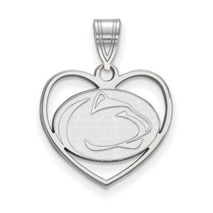 NCAA Sterling Silver Penn State Heart Pendant - The Black Bow Jewelry Co.