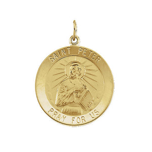 14k Yellow Gold Saint Peter Medal Disc Charm or Pendant, 15mm - The Black Bow Jewelry Co.