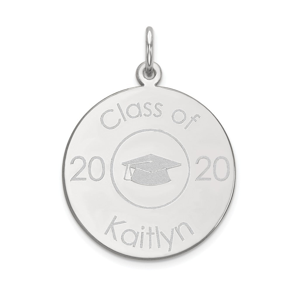 14k White Gold Engravable 2018 Graduation Charm or Pendant, 19mm, Item P25676 by The Black Bow Jewelry Co.