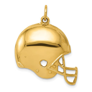 14k Yellow Gold Polished Football Helmet Pendant, 25mm - The Black Bow Jewelry Co.
