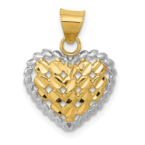 14k Yellow Gold and Rhodium Diamond Cut Heart Pendant, 14mm - The Black Bow Jewelry Co.