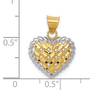 Alternate view of the 14k Yellow Gold and Rhodium Diamond Cut Heart Pendant, 14mm by The Black Bow Jewelry Co.