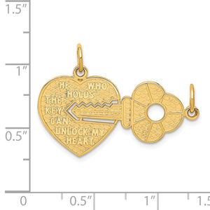 Alternate view of the 14k Yellow Gold Heart with a Key Set of 2 Charm or Pendants, 30mm by The Black Bow Jewelry Co.