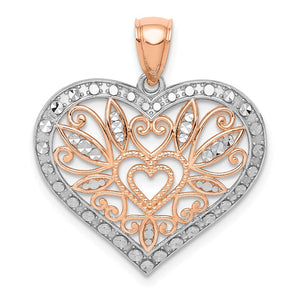 14k Rose Gold With White Rhodium Plating Fancy Heart Pendant, 24mm - The Black Bow Jewelry Co.