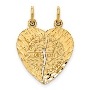 14k Yellow Gold From My Heart to Yours Set of 2 Charm Pendants, 18mm - The Black Bow Jewelry Co.