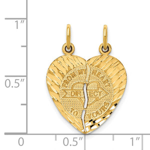 Alternate view of the 14k Yellow Gold From My Heart to Yours Set of 2 Charm Pendants, 18mm by The Black Bow Jewelry Co.