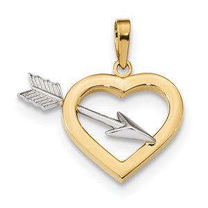 14k Yellow Gold and White Rhodium Hollow Heart & Arrow Pendant, 22mm - The Black Bow Jewelry Co.
