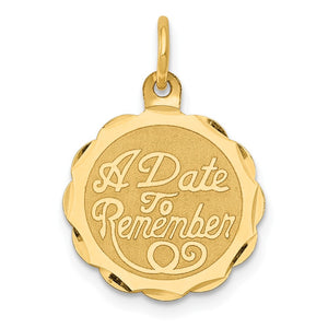 14k Yellow Gold A Date To Remember Disc Charm or Pendant, 15mm - The Black Bow Jewelry Co.