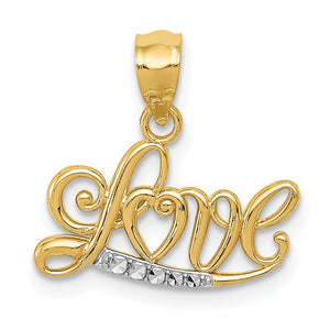 14k Yellow Gold and White Rhodium Love Script Pendant, 16mm - The Black Bow Jewelry Co.