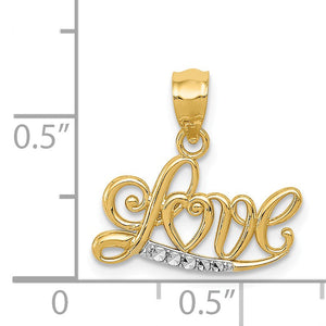 14k Yellow Gold and White Rhodium Love Script Pendant, 16mm