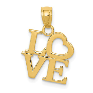 14k Yellow Gold Stacked Love Pendant, 14mm - The Black Bow Jewelry Co.