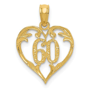 14k Yellow Gold 60 inside Heart Pendant, 13mm - The Black Bow Jewelry Co.