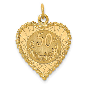 14k Yellow Gold 50th Anniversary Rope Heart Charm or Pendant, 18mm - The Black Bow Jewelry Co.