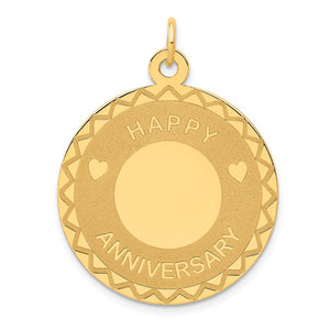14k Yellow Gold Happy Anniversary Circle Pendant, 25mm - The Black Bow Jewelry Co.