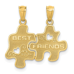 14k Yellow Gold Best Friends Puzzle Pieces Set of 2 Pendants, 18mm - The Black Bow Jewelry Co.