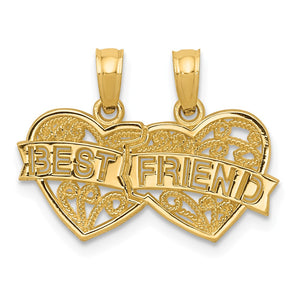 14k Yellow Gold Best Friend Double Hearts Set of 2 Pendants, 19mm - The Black Bow Jewelry Co.