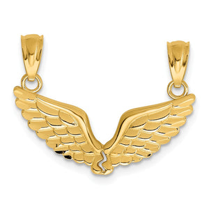 14k Yellow Gold Angel Wings Set of 2 Pendants, 22mm - The Black Bow Jewelry Co.