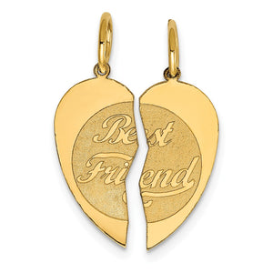 14k Yellow Gold Best Friend Heart Set of 2 Charm or Pendants, 15mm - The Black Bow Jewelry Co.