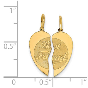 Alternate view of the 14k Yellow Gold Best Friend Heart Set of 2 Charm or Pendants, 15mm by The Black Bow Jewelry Co.