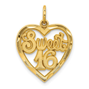 14k Yellow Gold Sweet 16 in a Heart Charm or Pendant, 17mm - The Black Bow Jewelry Co.