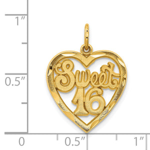14k Yellow Gold Sweet 16 in a Heart Charm or Pendant, 17mm