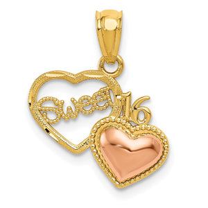14k Yellow & Rose Gold Sweet 16 Double Heart Pendant, 15mm - The Black Bow Jewelry Co.