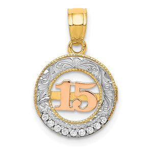 14k Two Tone Gold, White Rhodium & CZ Number 15 Circle Pendant, 12mm - The Black Bow Jewelry Co.