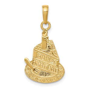 14k Yellow Gold Slice Of Cake with Candle Happy Birthday Pendant, 14mm - The Black Bow Jewelry Co.
