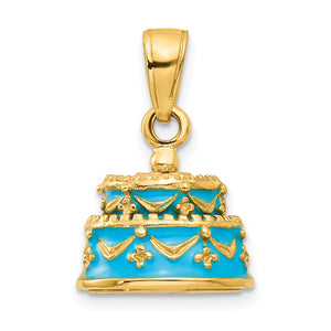 14k Yellow Gold Light Blue Enameled Happy Birthday Cake Pendant, 12mm - The Black Bow Jewelry Co.