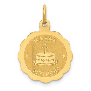 14k Yellow Gold Happy Birthday Charm or Pendant, 15mm - The Black Bow Jewelry Co.
