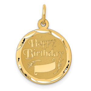 14k Yellow Gold Happy Birthday w Banner Circle Charm or Pendant, 16mm - The Black Bow Jewelry Co.