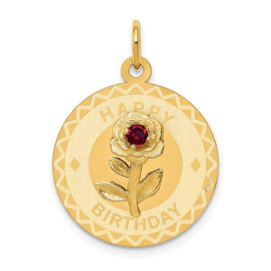 14k Yellow Gold Happy Birthday Disc Charm or Pendant w CZ Flower, 19mm - The Black Bow Jewelry Co.
