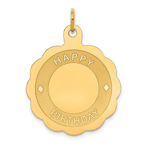 14k Yellow Gold Happy Birthday Disc Pendant, 22mm - The Black Bow Jewelry Co.