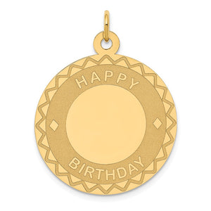 14k Yellow Gold Happy Birthday Pendant, 26mm - The Black Bow Jewelry Co.