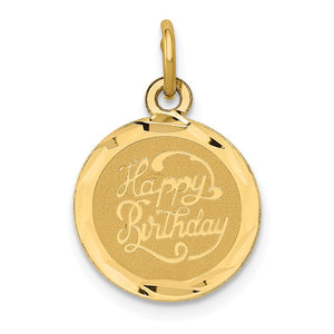 14k Yellow Gold Script Happy Birthday Disc Charm or Pendant, 13mm - The Black Bow Jewelry Co.