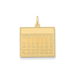 14k Yellow Gold Friday Start Perpetual Calendar Charm or Pendant, 22mm - The Black Bow Jewelry Co.