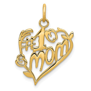14k Yellow Gold #1 Mom Heart Charm or Pendant, 16mm - The Black Bow Jewelry Co.