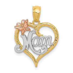 14k Two Tone Gold and White Rhodium Mom Heart Butterfly Pendant, 15mm - The Black Bow Jewelry Co.