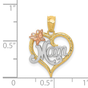 Alternate view of the 14k Two Tone Gold and White Rhodium Mom Heart Butterfly Pendant, 15mm by The Black Bow Jewelry Co.